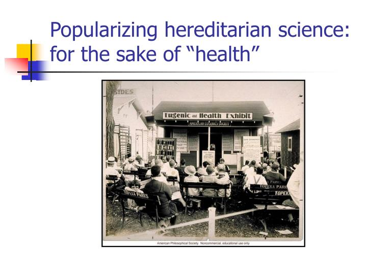 "Popularizing hereditarian science: for the sake of ""health"""