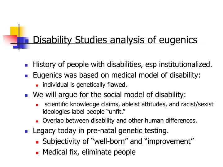 Disability Studies analysis of eugenics