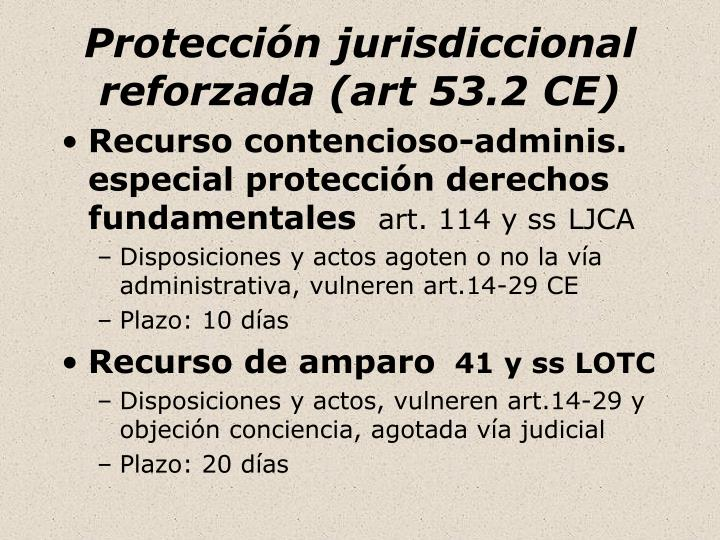 Protección jurisdiccional reforzada (art 53.2 CE)