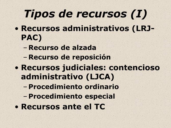 Tipos de recursos (I)