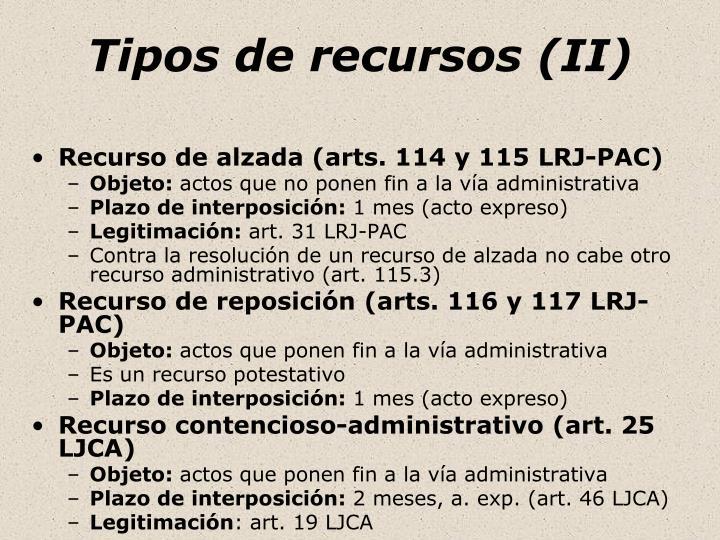 Tipos de recursos (II)
