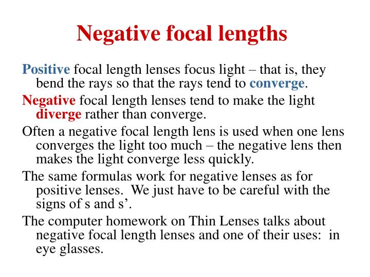 Negative focal lengths