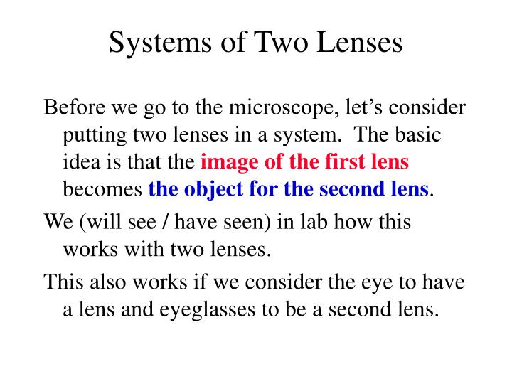 Systems of Two Lenses