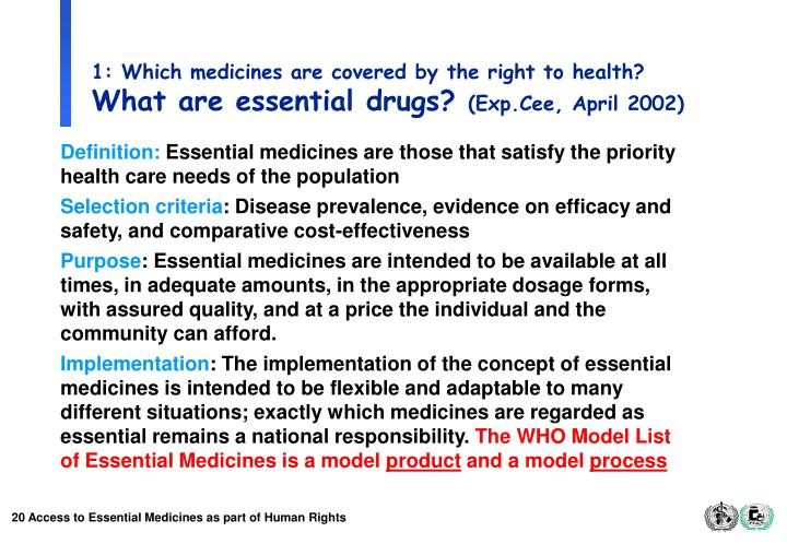 1: Which medicines are covered by the right to health?