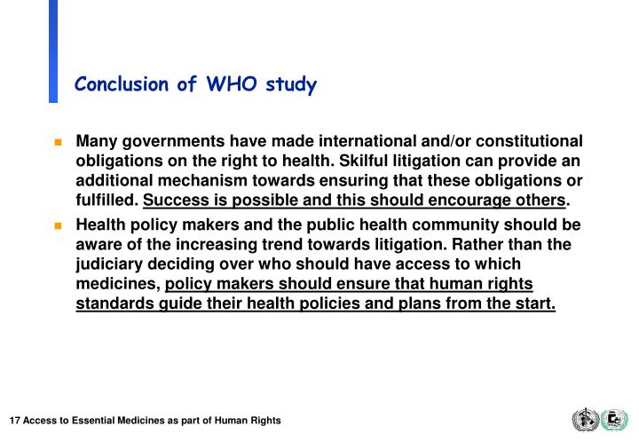 Conclusion of WHO study