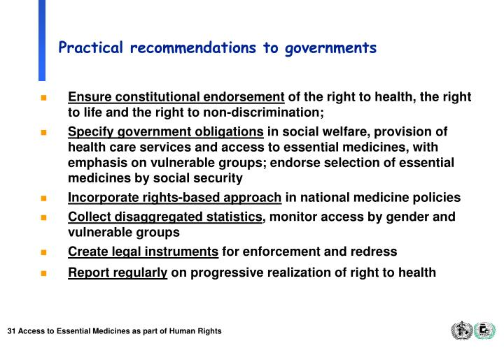 Practical recommendations to governments