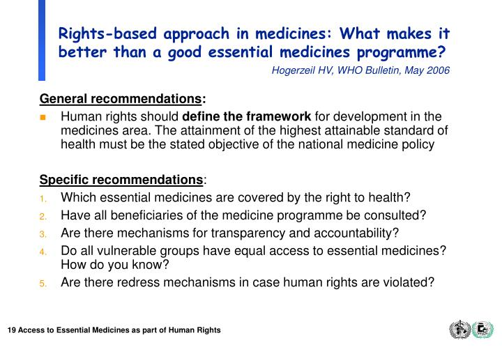 Rights-based approach in medicines: What makes it