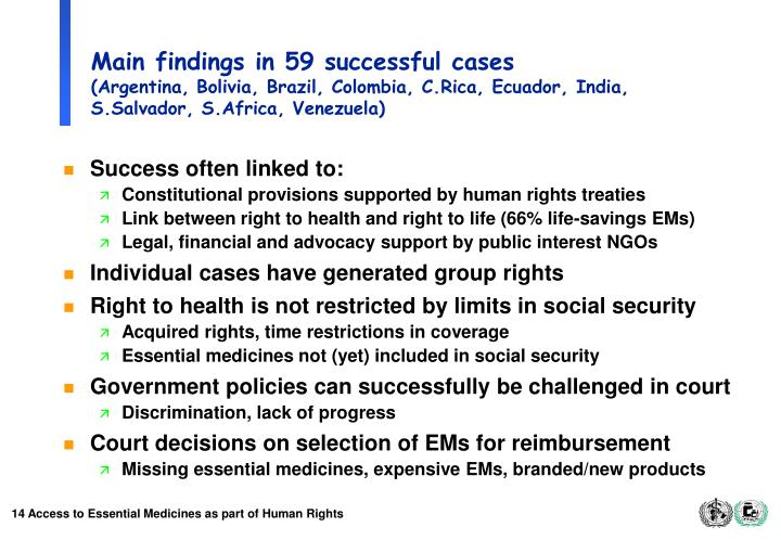 Main findings in 59 successful cases