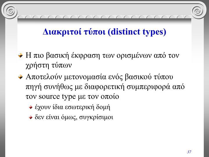 Διακριτοί τύποι (distinct types)