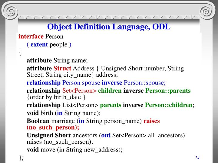 Object Definition Language, ODL