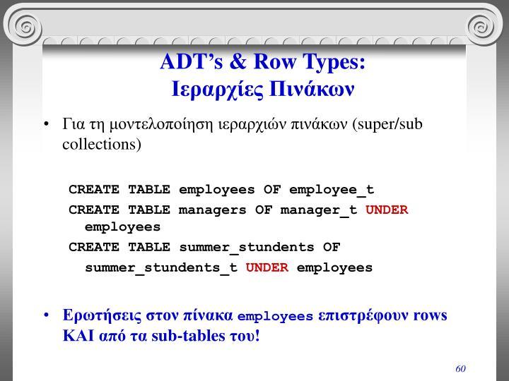 ADT's & Row Types: