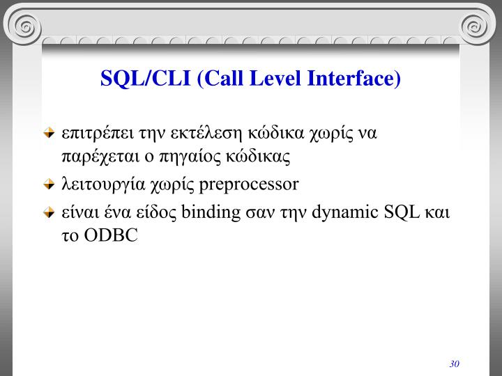 SQL/CLI (Call Level Interface)