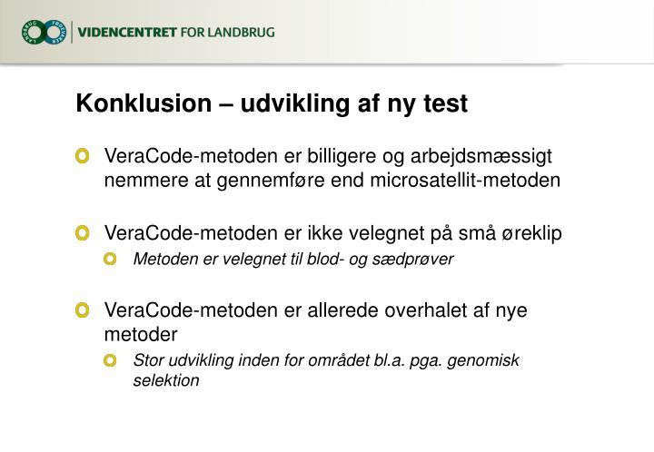 Konklusion – udvikling af ny test