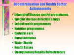 decentralisation and health sector achievements