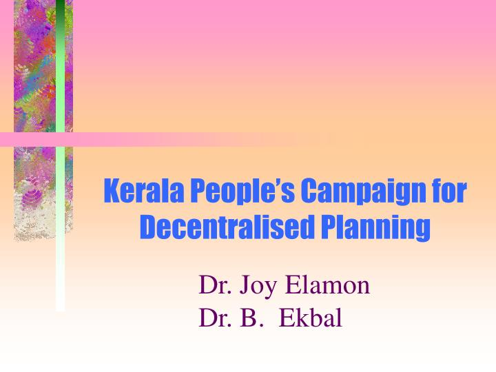 Kerala people s campaign for decentralised planning
