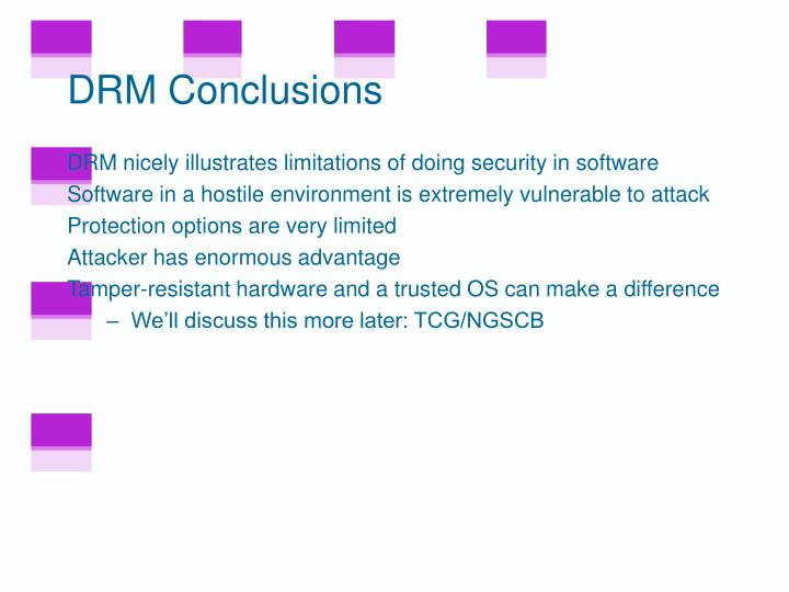 DRM Conclusions