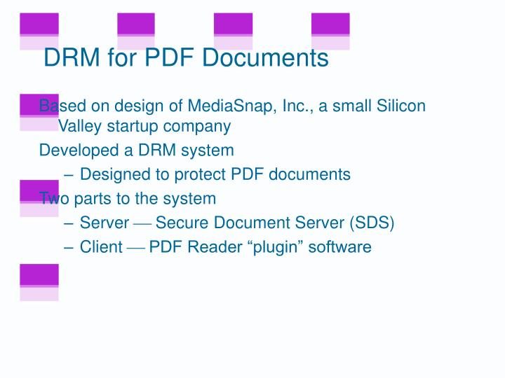 DRM for PDF Documents