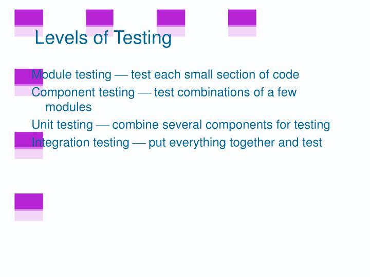 Levels of Testing