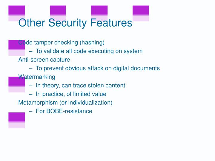 Other Security Features