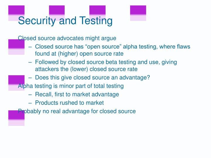 Security and Testing