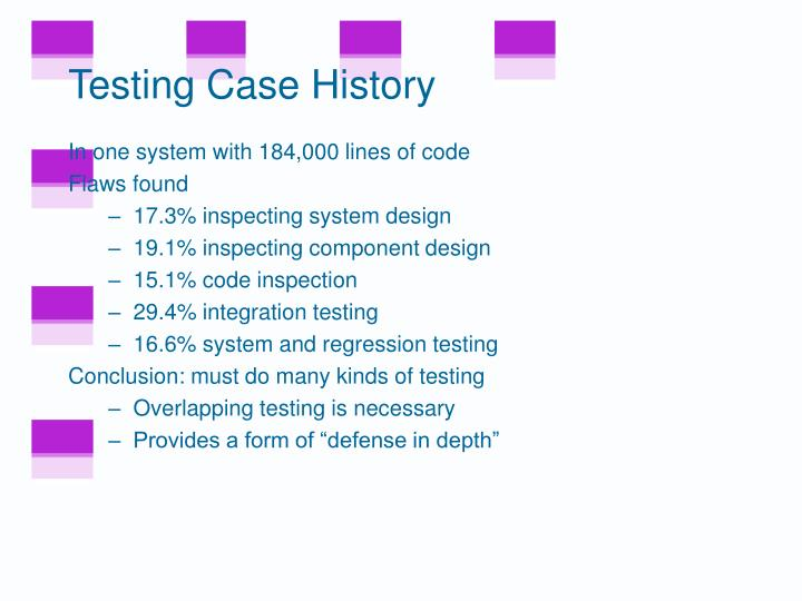 Testing Case History