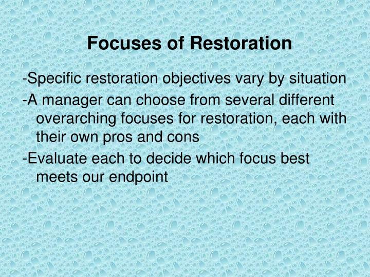 Focuses of Restoration