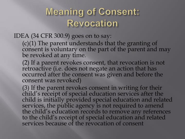 Meaning of Consent: