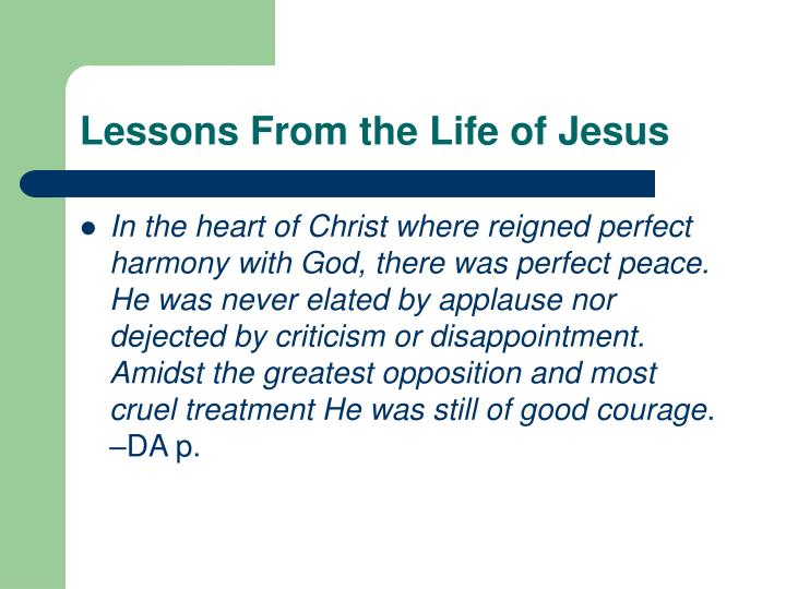 Lessons From the Life of Jesus