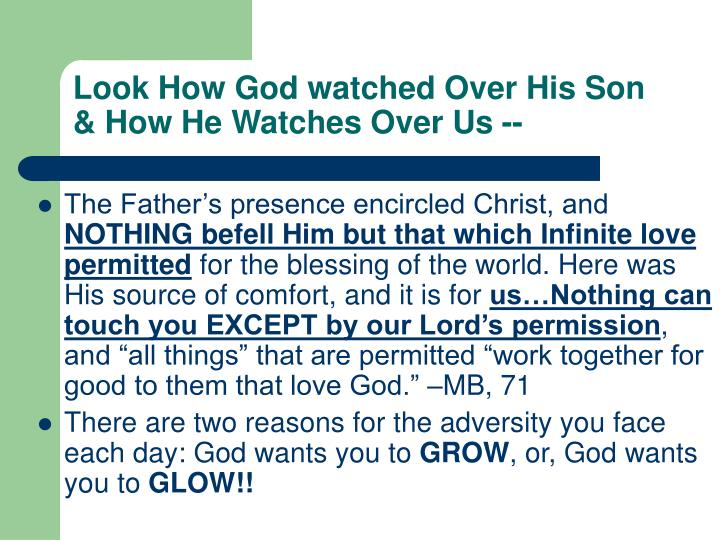 Look How God watched Over His Son & How He Watches Over Us --