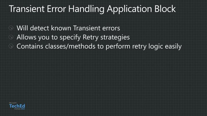 Transient Error Handling Application Block