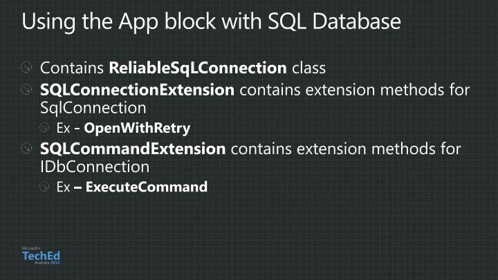 Using the App block with SQL Database