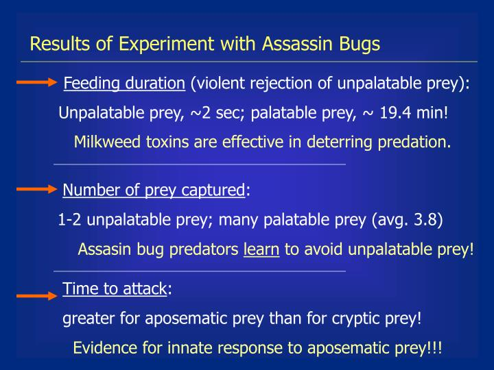 Results of Experiment with Assassin Bugs