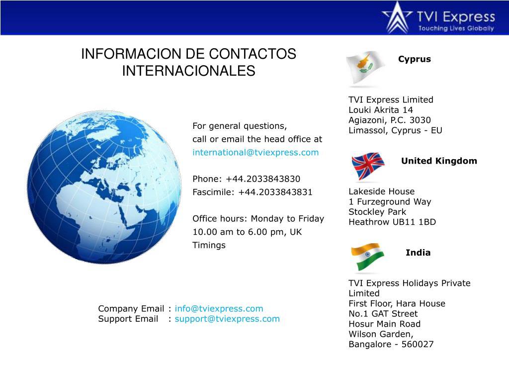 INFORMACION DE CONTACTOS INTERNACIONALES