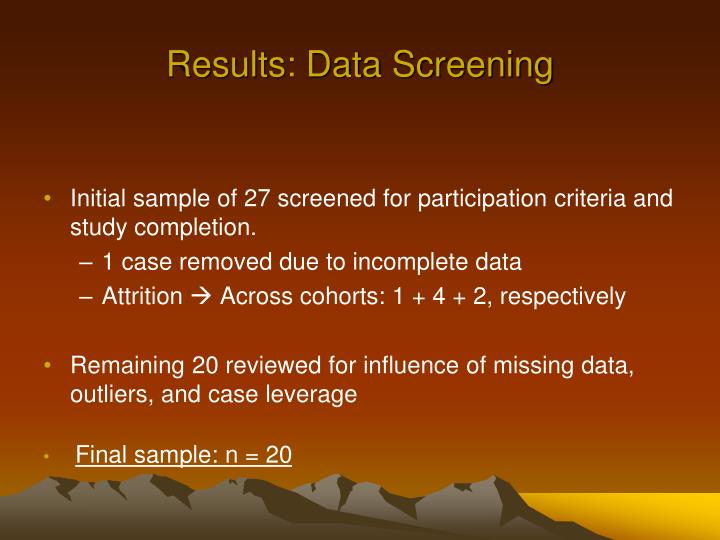 Results: Data Screening