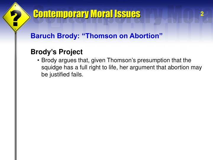"Baruch Brody: ""Thomson on Abortion"""