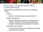 verifying troubleshooting ripv21