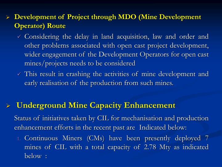 Development of Project through MDO (Mine Development Operator) Route