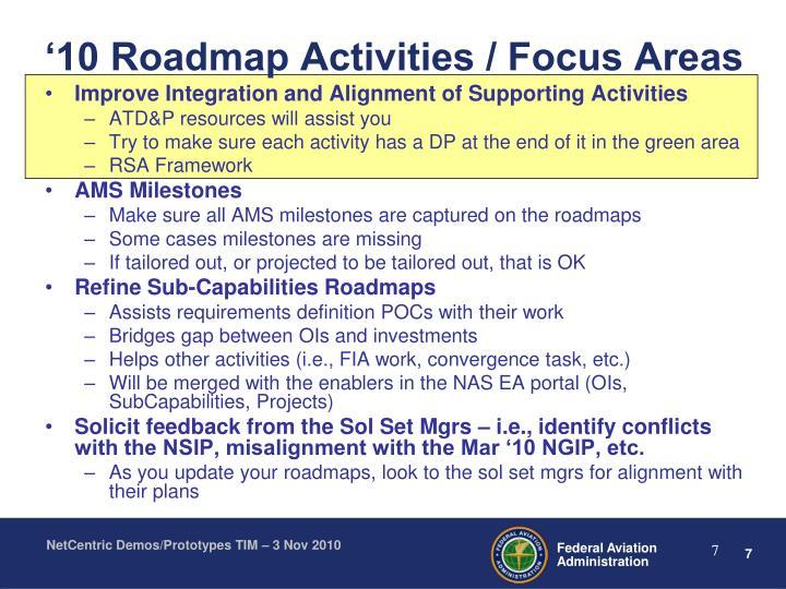 '10 Roadmap Activities / Focus Areas
