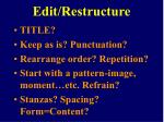 edit restructure