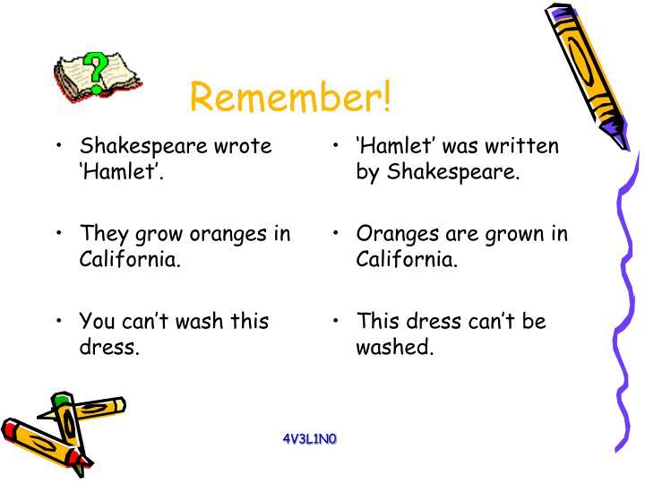 Shakespeare wrote 'Hamlet'.