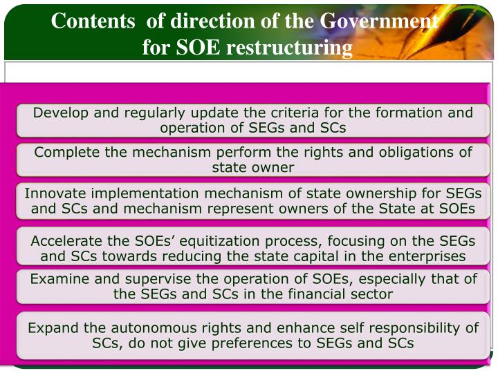 Contents  of direction of the Government