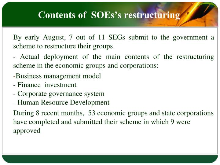 Contents of  SOEs's restructuring