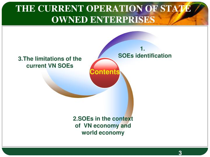 THE CURRENT OPERATION OF STATE OWNED ENTERPRISES