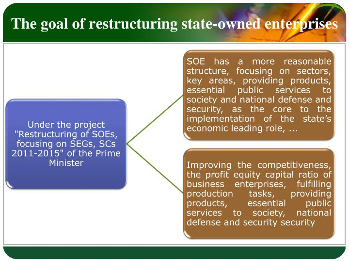 The goal of restructuring state-owned enterprises