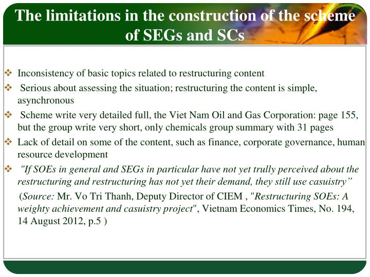 The limitations in the construction of the scheme of SEGs and SCs
