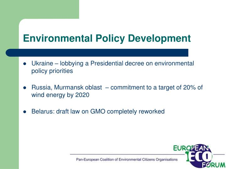Environmental policy development