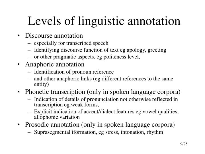 Levels of linguistic annotation