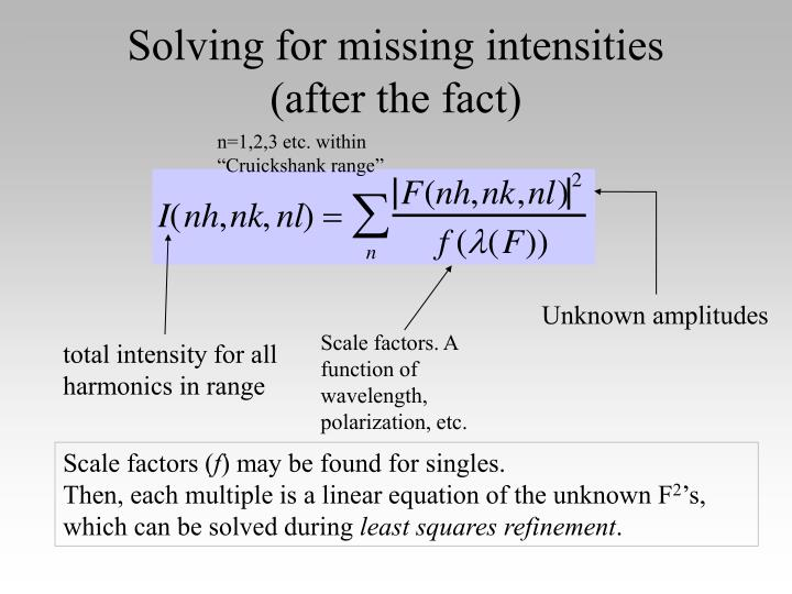 Solving for missing intensities