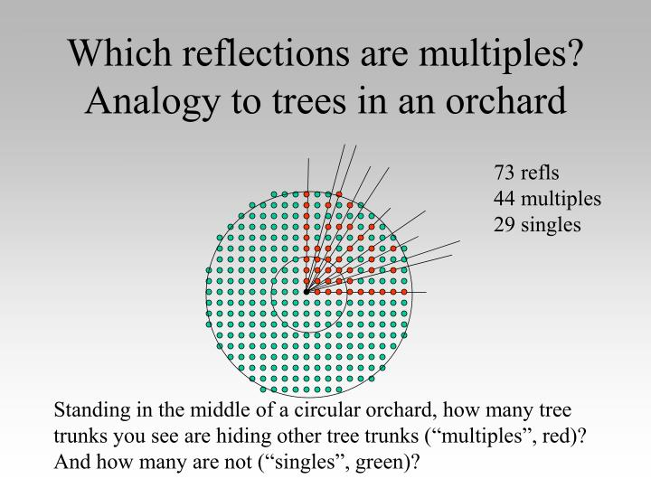 Which reflections are multiples? Analogy to trees in an orchard