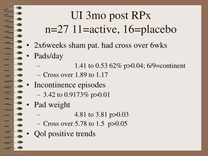 UI 3mo post RPx                       n=27 11=active, 16=placebo